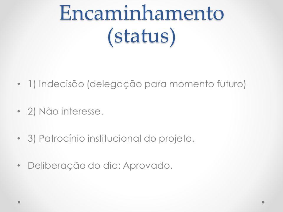 Encaminhamento (status) 1) Indecisão (delegação para momento futuro) 2) Não interesse.