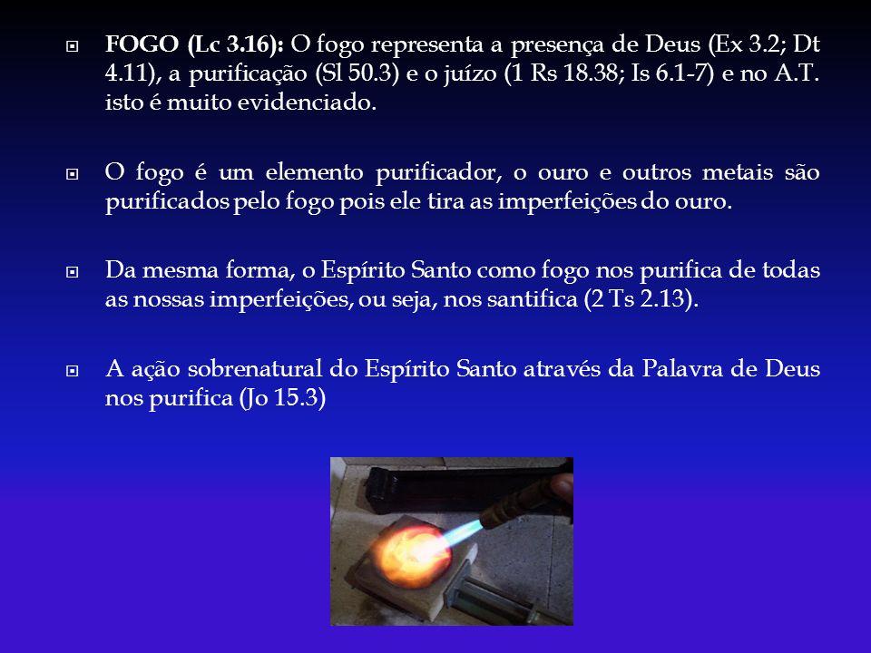 FOGO (Lc 3.16): O fogo representa a presença de Deus (Ex 3.2; Dt 4.11), a purificação (Sl 50.3) e o juízo (1 Rs 18.38; Is 6.1-7) e no A.T. isto é muit