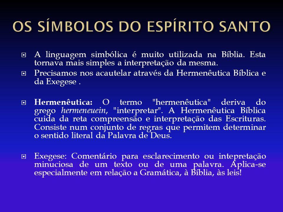 A linguagem simbólica é muito utilizada na Bíblia. Esta tornava mais simples a interpretação da mesma. Precisamos nos acautelar através da Hermenêutic