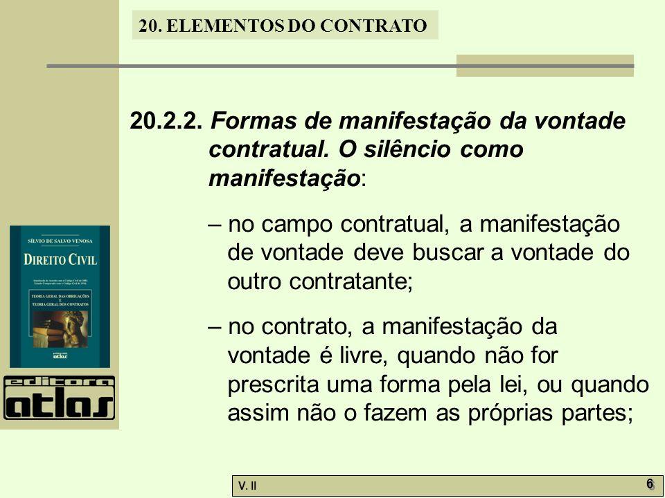 V.II 6 6 20. ELEMENTOS DO CONTRATO 20.2.2. Formas de manifestação da vontade contratual.