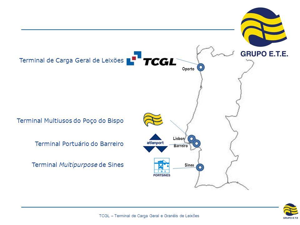 TCGL – Terminal de Carga Geral e Granéis de Leixões Oporto Lisbon Sines Barreiro Terminal de Carga Geral de Leixões Terminal Multiusos do Poço do Bispo Terminal Portuário do Barreiro Terminal Multipurpose de Sines