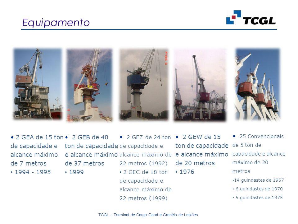 TCGL – Terminal de Carga Geral e Granéis de Leixões Equipamento 2 GEA de 15 ton de capacidade e alcance máximo de 7 metros 1994 - 1995 2 GEB de 40 ton de capacidade e alcance máximo de 37 metros 1999 2 GEZ de 24 ton de capacidade e alcance máximo de 22 metros (1992) 2 GEC de 18 ton de capacidade e alcance máximo de 22 metros (1999) 2 GEW de 15 ton de capacidade e alcance máximo de 20 metros 1976 25 Convencionais de 5 ton de capacidade e alcance máximo de 20 metros 14 guindastes de 1957 6 guindastes de 1970 5 guindastes de 1975