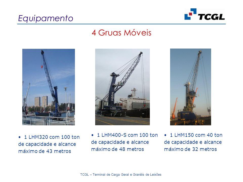 TCGL – Terminal de Carga Geral e Granéis de Leixões 4 Gruas Móveis Equipamento 1 LHM400-S com 100 ton de capacidade e alcance máximo de 48 metros 1 LHM320 com 100 ton de capacidade e alcance máximo de 43 metros 1 LHM150 com 40 ton de capacidade e alcance máximo de 32 metros