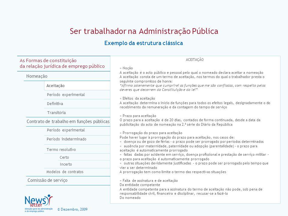 © Dezembro, 2009 Ser trabalhador na Administração Pública Exemplo da estrutura clássica As Formas de constituição da relação jurídica de emprego públi