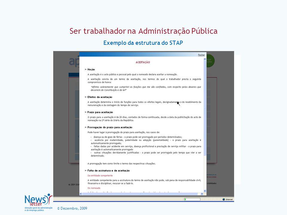 © Dezembro, 2009 Ser trabalhador na Administração Pública Exemplo da estrutura do STAP