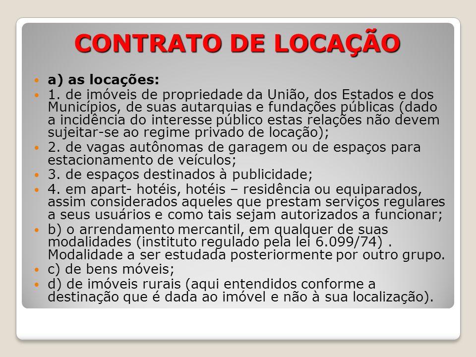 CONTRATO DE LOCAÇÃO a) as locações: 1.