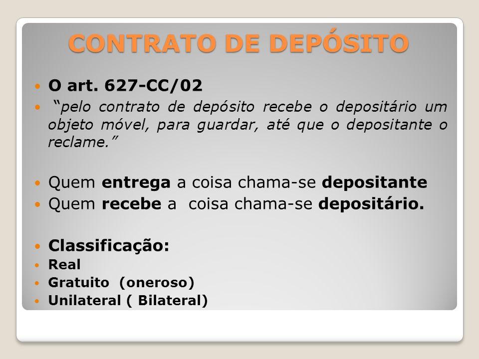 CONTRATO DE DEPÓSITO O art.