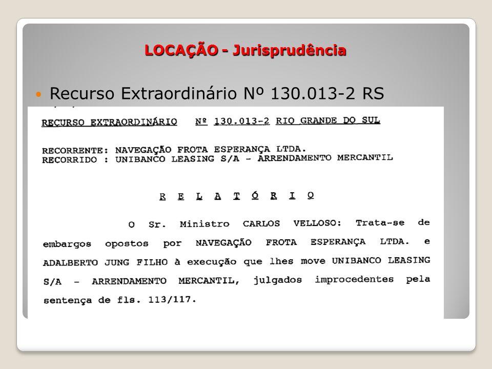 LOCAÇÃO - Jurisprudência Recurso Extraordinário Nº 130.013-2 RS
