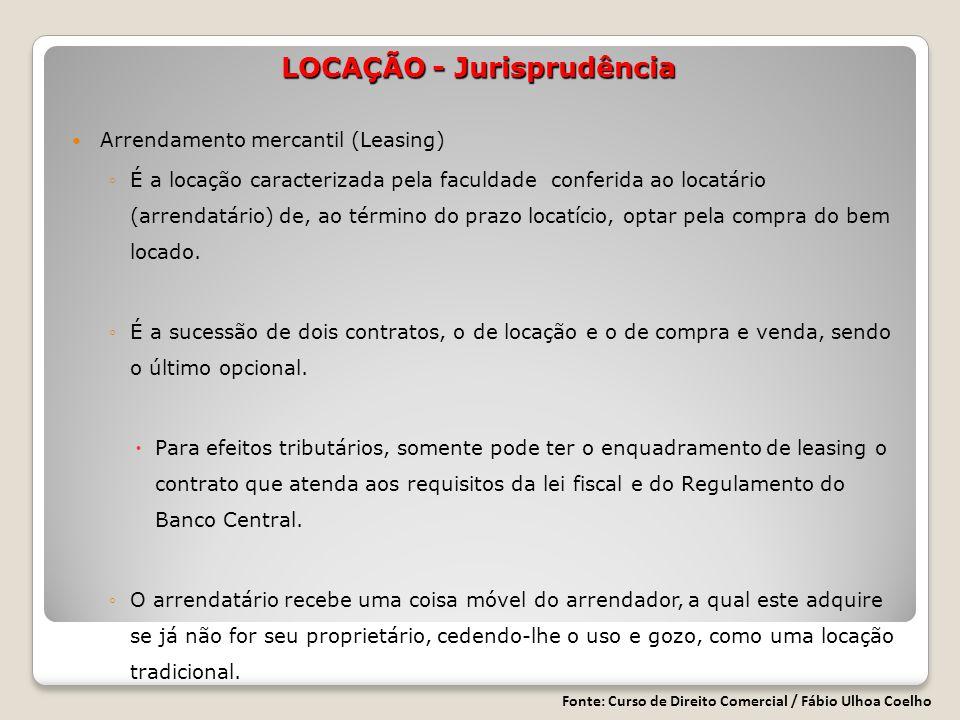 Arrendamento mercantil (Leasing) É a locação caracterizada pela faculdade conferida ao locatário (arrendatário) de, ao término do prazo locatício, optar pela compra do bem locado.