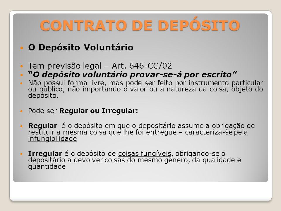 CONTRATO DE DEPÓSITO O Depósito Voluntário Tem previsão legal – Art.