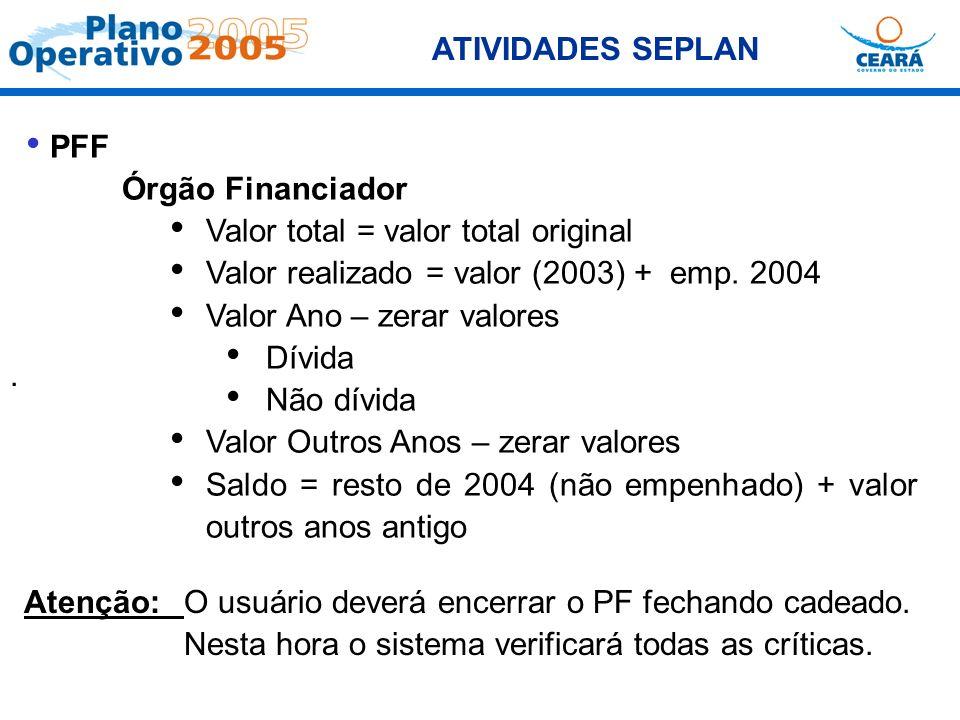 ATIVIDADES SEPLAN. PFF Órgão Financiador Valor total = valor total original Valor realizado = valor (2003) + emp. 2004 Valor Ano – zerar valores Dívid