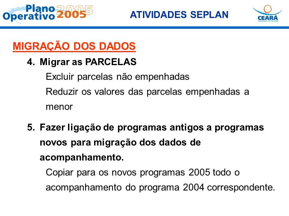 ATIVIDADES SEPLAN MIGRAÇÃO DOS DADOS 4.Migrar as PARCELAS Excluir parcelas não empenhadas Reduzir os valores das parcelas empenhadas a menor 5.Fazer l