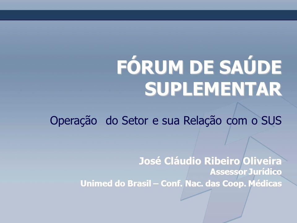 FÓRUM DE SAÚDE SUPLEMENTAR Operação do Setor e sua Relação com o SUS José Cláudio Ribeiro Oliveira Assessor Jurídico Unimed do Brasil – Conf. Nac. das