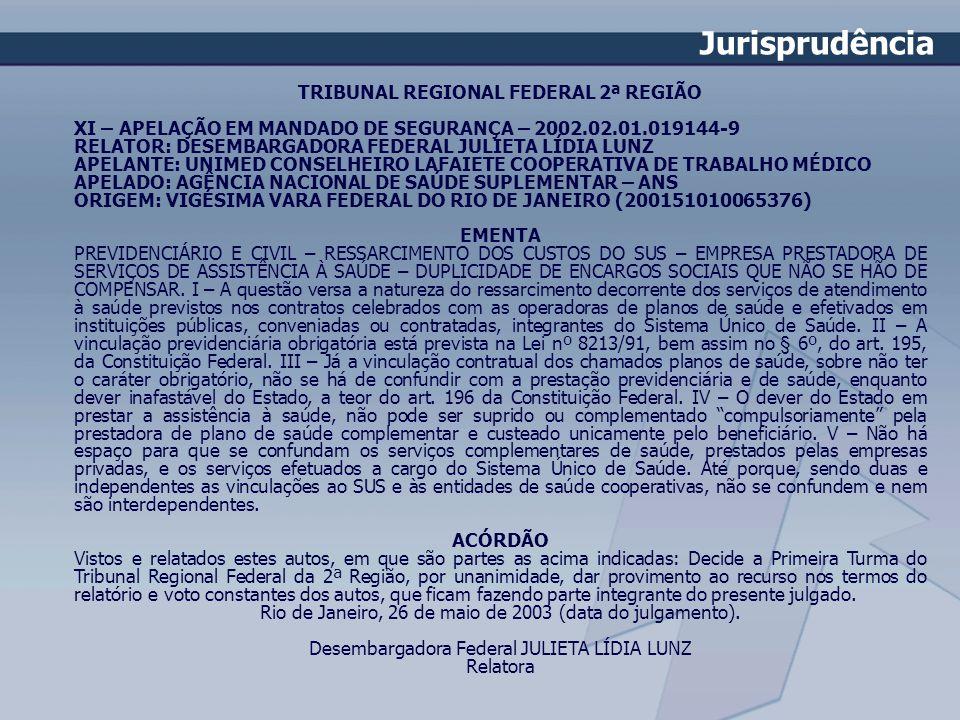 TRIBUNAL REGIONAL FEDERAL 2ª REGIÃO XI – APELAÇÃO EM MANDADO DE SEGURANÇA – 2002.02.01.019144-9 RELATOR: DESEMBARGADORA FEDERAL JULIETA LÍDIA LUNZ APE