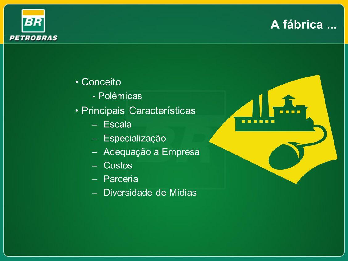 A fábrica... Conceito - Polêmicas Principais Características –Escala –Especialização –Adequação a Empresa –Custos –Parceria –Diversidade de Mídias