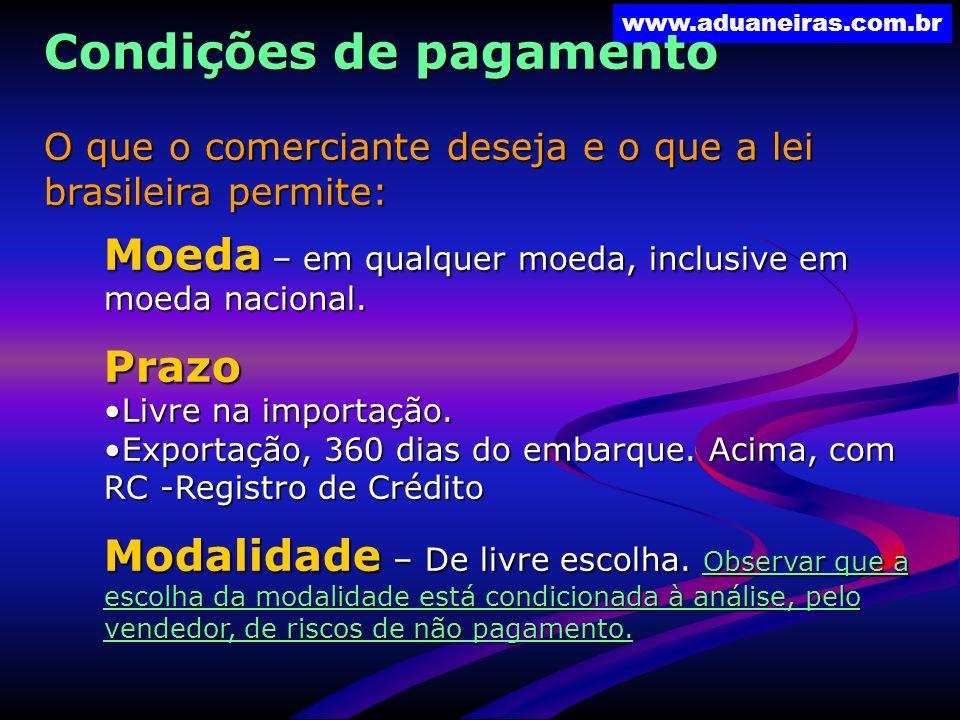 Condições de pagamento O que o comerciante deseja e o que a lei brasileira permite: Moeda – em qualquer moeda, inclusive em moeda nacional. Prazo Livr