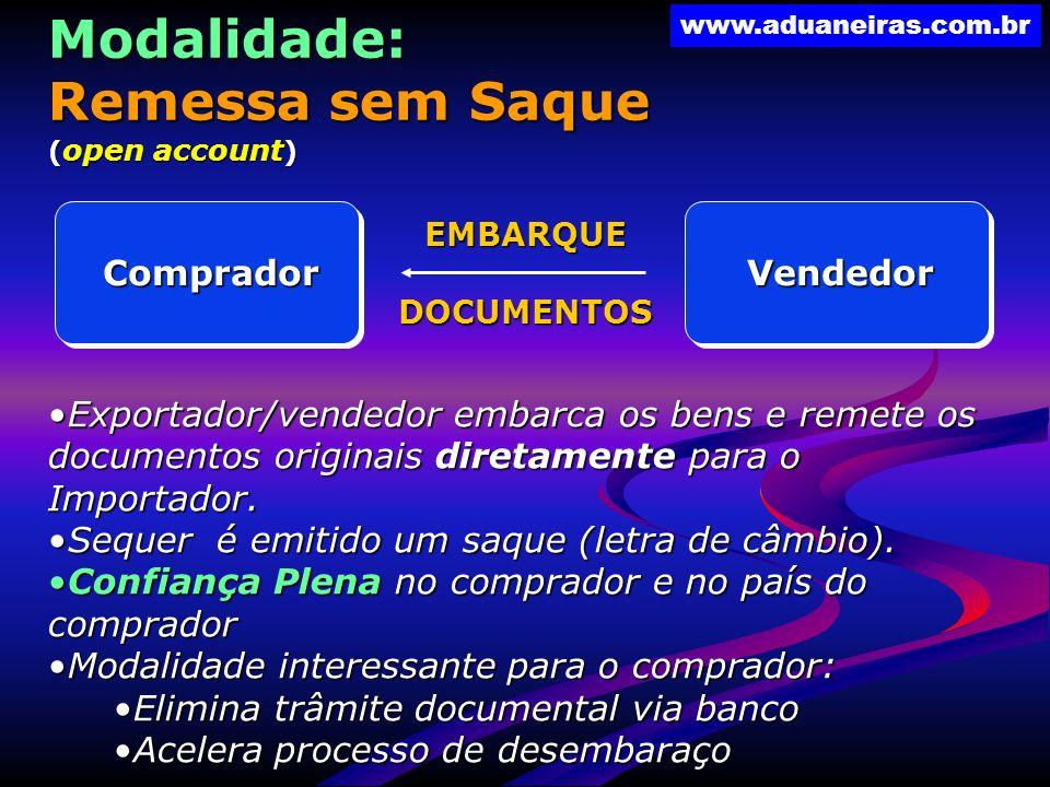 www.aduaneiras.com.br VendedorComprador EMBARQUEDOCUMENTOSModalidade: Remessa sem Saque ( open account ) Exportador/vendedor embarca os bens e remete