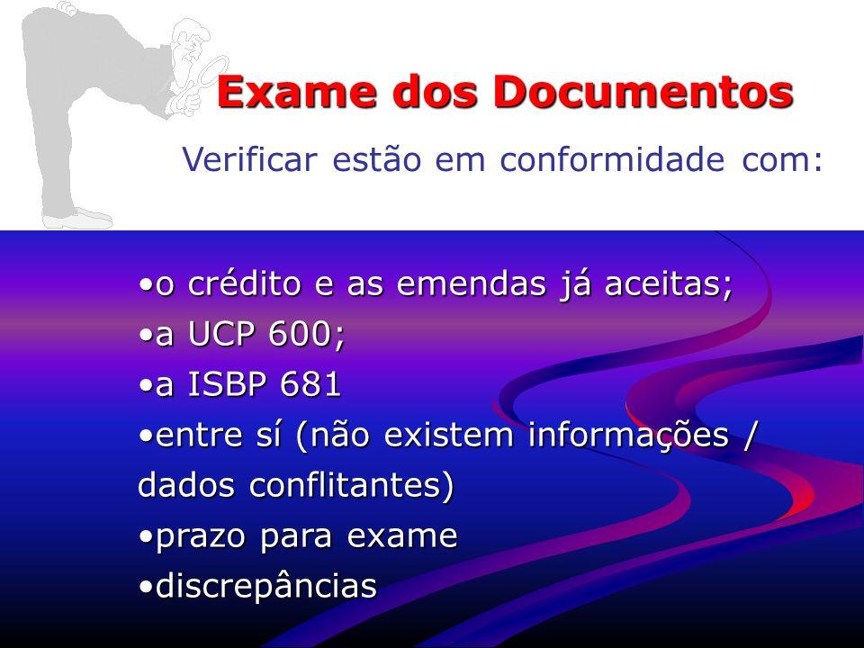 www.aduaneiras.com.br Exame dos Documentos Verificar estão em conformidade com: o crédito e as emendas já aceitas;o crédito e as emendas já aceitas; a