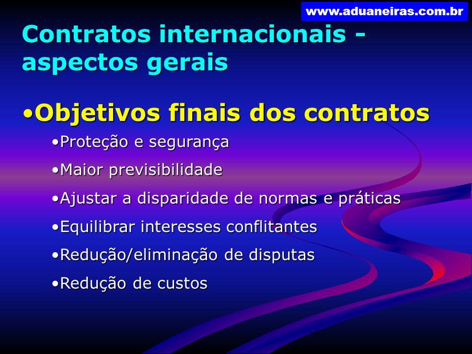 www.aduaneiras.com.br Contratos internacionais - aspectos gerais Objetivos finais dos contratosObjetivos finais dos contratos Proteção e segurançaProt
