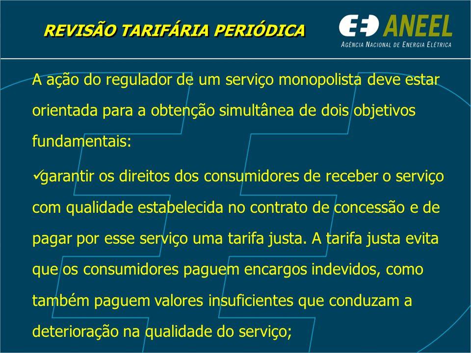 REVISÃO TARIFÁRIA PERIÓDICA A ação do regulador de um serviço monopolista deve estar orientada para a obtenção simultânea de dois objetivos fundamenta