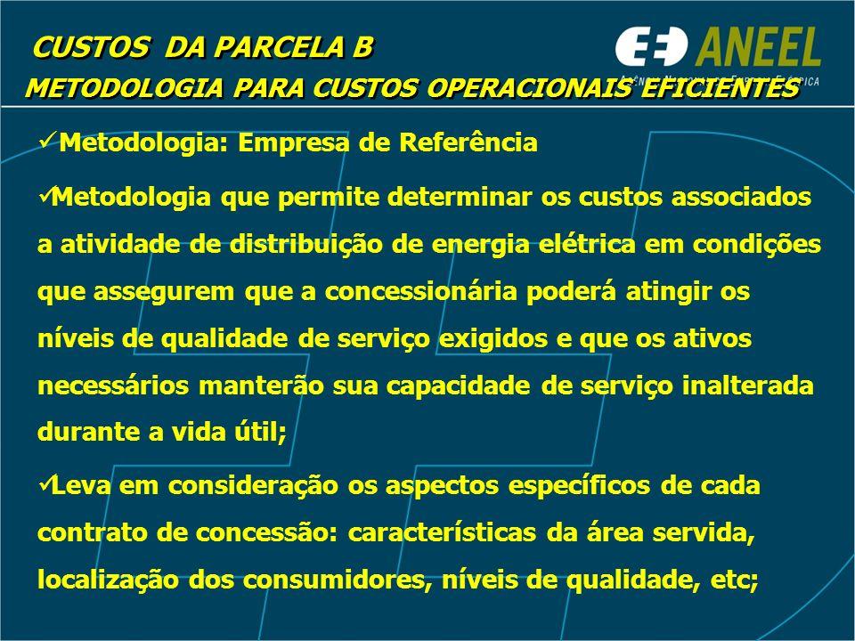 CUSTOS DA PARCELA B Metodologia: Empresa de Referência Metodologia que permite determinar os custos associados a atividade de distribuição de energia