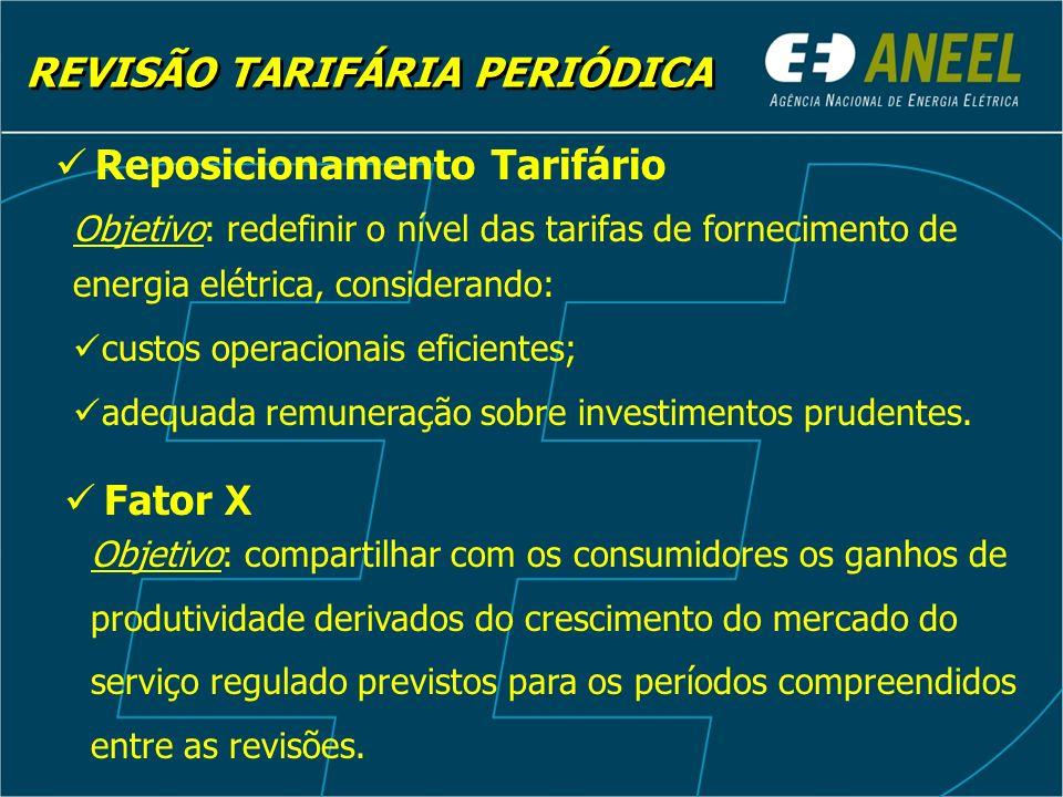 Objetivo: redefinir o nível das tarifas de fornecimento de energia elétrica, considerando: custos operacionais eficientes; adequada remuneração sobre