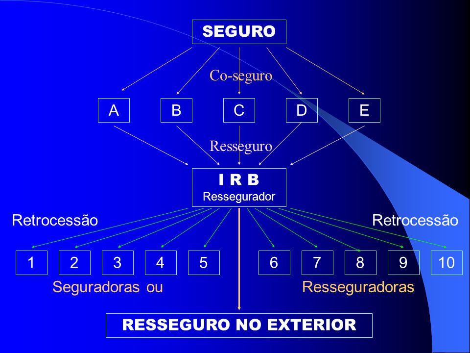 Miguel Roberto Soares Silva RESSEGURO NO EXTERIOR Esgotada a capacidade de retenção do mercado nacional, o IRB procura colocação do excedente no merca