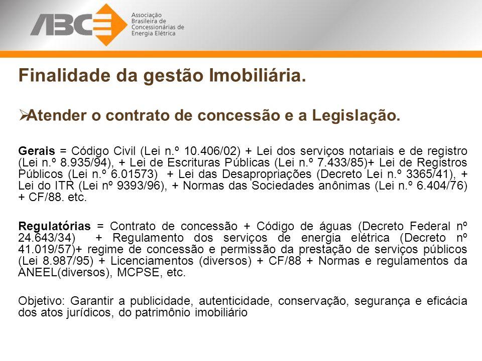 Finalidade da gestão Imobiliária. Atender o contrato de concessão e a Legislação. Gerais = Código Civil (Lei n.º 10.406/02) + Lei dos serviços notaria