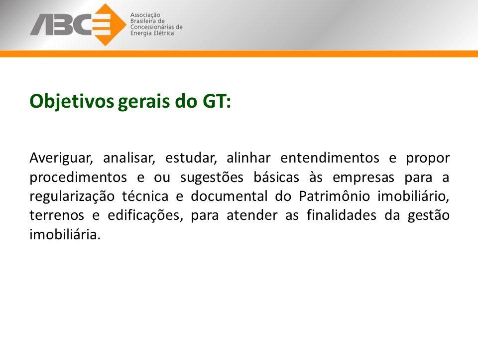 Objetivos gerais do GT: Averiguar, analisar, estudar, alinhar entendimentos e propor procedimentos e ou sugestões básicas às empresas para a regulariz