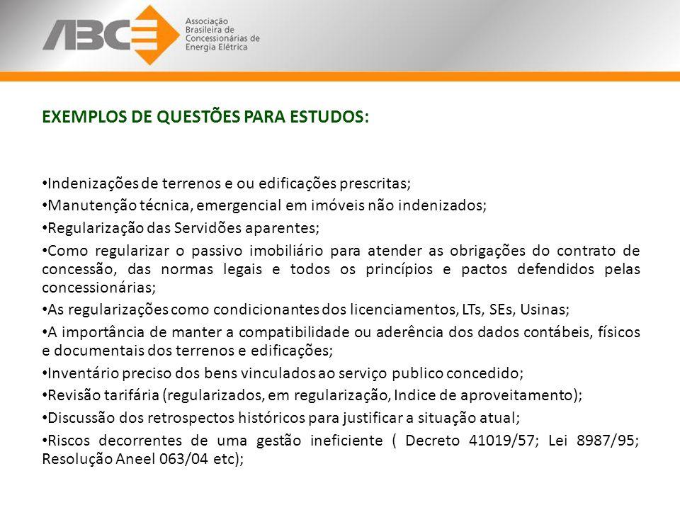 EXEMPLOS DE QUESTÕES PARA ESTUDOS: Indenizações de terrenos e ou edificações prescritas; Manutenção técnica, emergencial em imóveis não indenizados; R