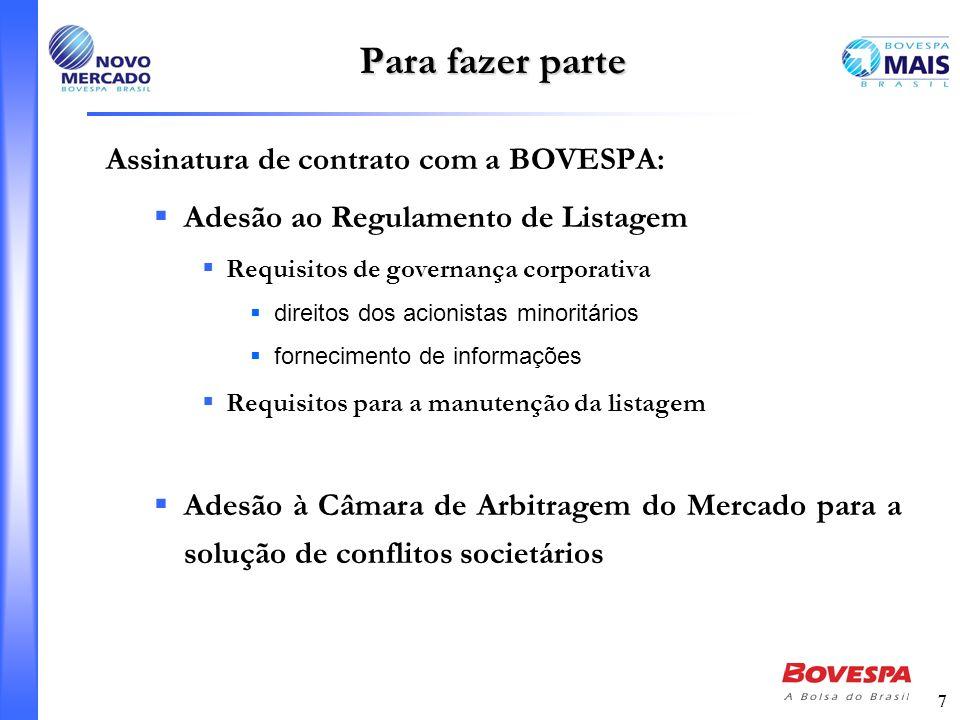 7 Para fazer parte Assinatura de contrato com a BOVESPA: Adesão ao Regulamento de Listagem Requisitos de governança corporativa direitos dos acionista