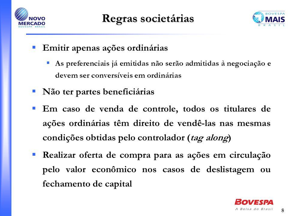 8 Regras societárias Emitir apenas ações ordinárias As preferenciais já emitidas não serão admitidas à negociação e devem ser conversíveis em ordinári