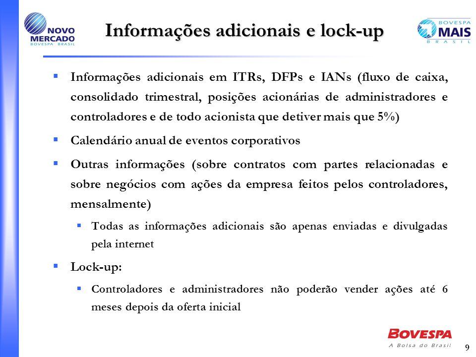 9 Informações adicionais e lock-up Informações adicionais em ITRs, DFPs e IANs (fluxo de caixa, consolidado trimestral, posições acionárias de adminis