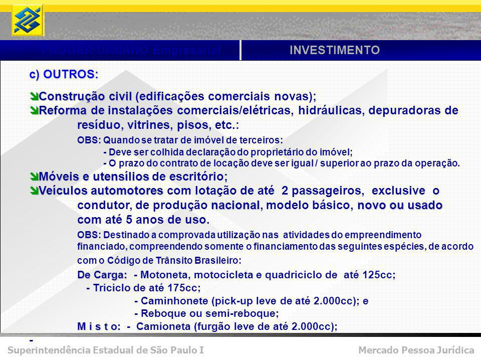 Superintendência Estadual de São Paulo I Mercado Pessoa Jurídica PROGER URBANO EmpresarialINVESTIMENTO c) OUTROS: Construção civil Construção civil (edificações comerciais novas); Reforma Reforma de instalações comerciais/elétricas, hidráulicas, depuradoras de resíduo, vitrines, pisos, etc.: OBS: Quando se tratar de imóvel de terceiros: - Deve ser colhida declaração do proprietário do imóvel; - O prazo do contrato de locação deve ser igual / superior ao prazo da operação.
