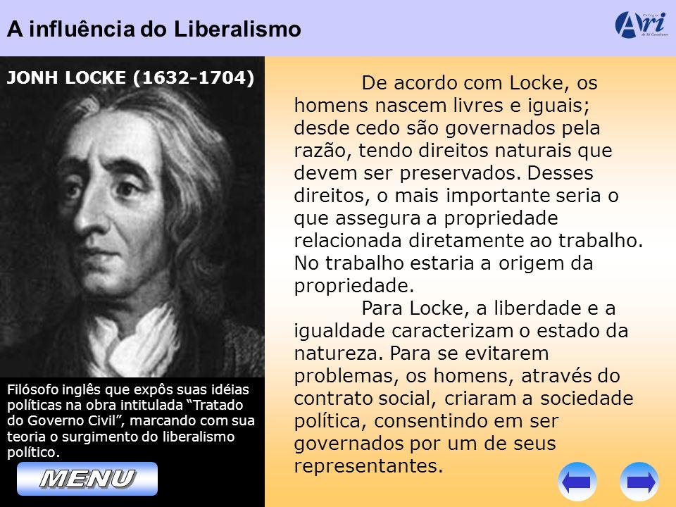 A influência do Liberalismo Filósofo inglês que expôs suas idéias políticas na obra intitulada Tratado do Governo Civil, marcando com sua teoria o sur