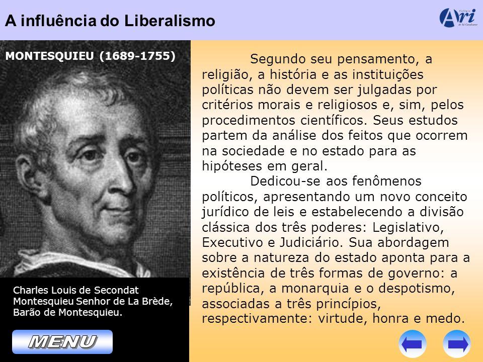 A influência do Liberalismo Charles Louis de Secondat Montesquieu Senhor de La Brède, Barão de Montesquieu. MONTESQUIEU (1689-1755) Segundo seu pensam