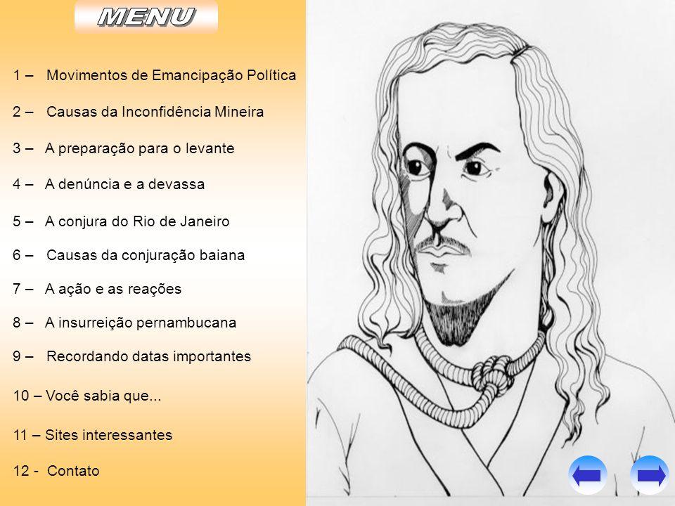 6 – CAUSAS DA CONJURAÇÃO BAIANA - 1798 * A sociedade Cavaleiros da Luz: moderados e radicais.