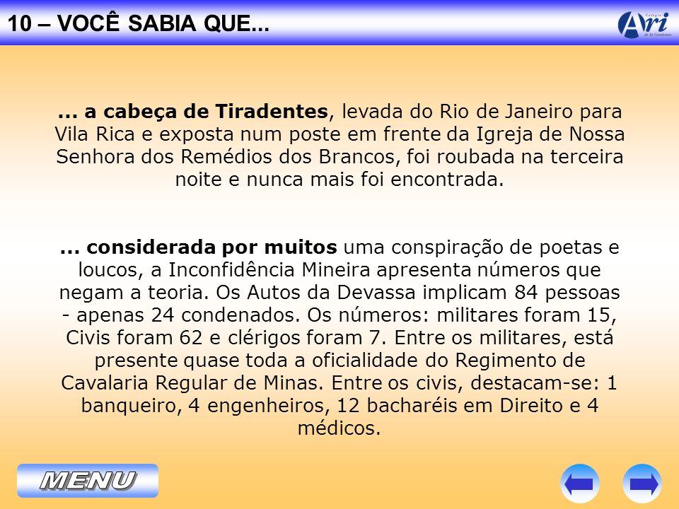 ... a cabeça de Tiradentes, levada do Rio de Janeiro para Vila Rica e exposta num poste em frente da Igreja de Nossa Senhora dos Remédios dos Brancos,