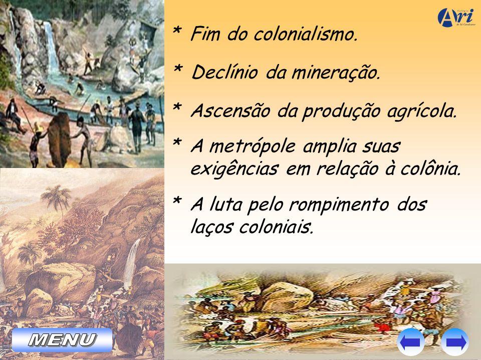 * Fim do colonialismo. * Declínio da mineração. * Ascensão da produção agrícola. * A metrópole amplia suas exigências em relação à colônia. * A luta p