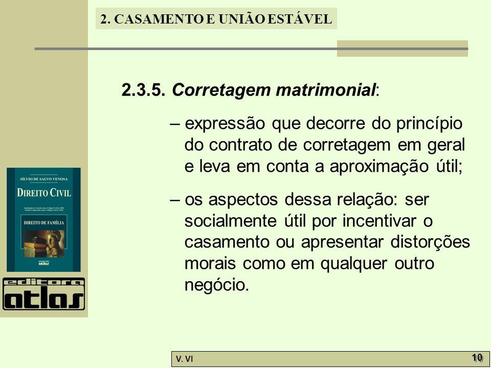 2. CASAMENTO E UNIÃO ESTÁVEL V. VI 10 2.3.5. Corretagem matrimonial: – expressão que decorre do princípio do contrato de corretagem em geral e leva em