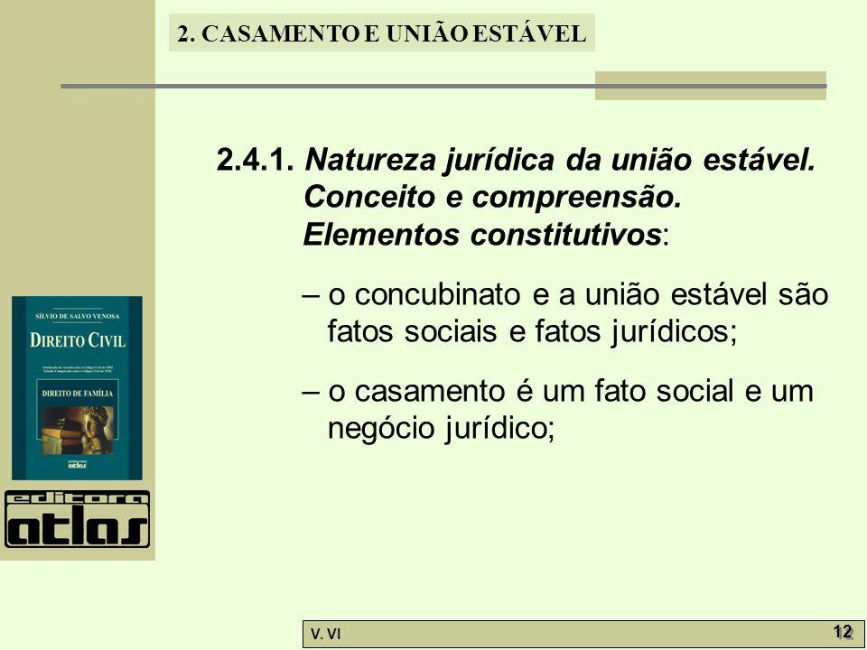 2. CASAMENTO E UNIÃO ESTÁVEL V. VI 12 2.4.1. Natureza jurídica da união estável. Conceito e compreensão. Elementos constitutivos: – o concubinato e a