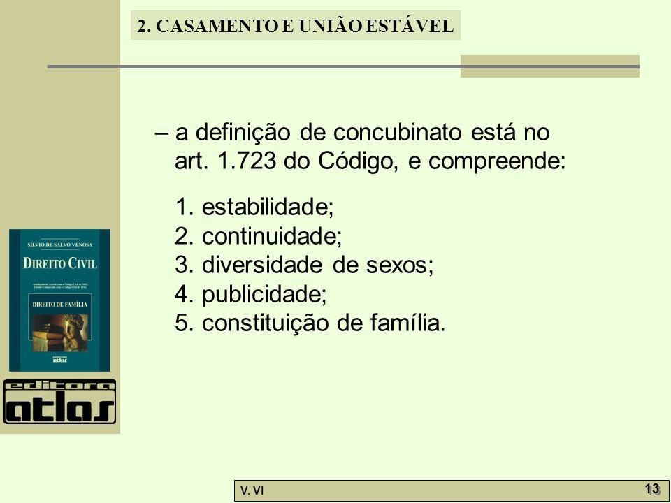2. CASAMENTO E UNIÃO ESTÁVEL V. VI 13 – a definição de concubinato está no art. 1.723 do Código, e compreende: 1. estabilidade; 2. continuidade; 3. di