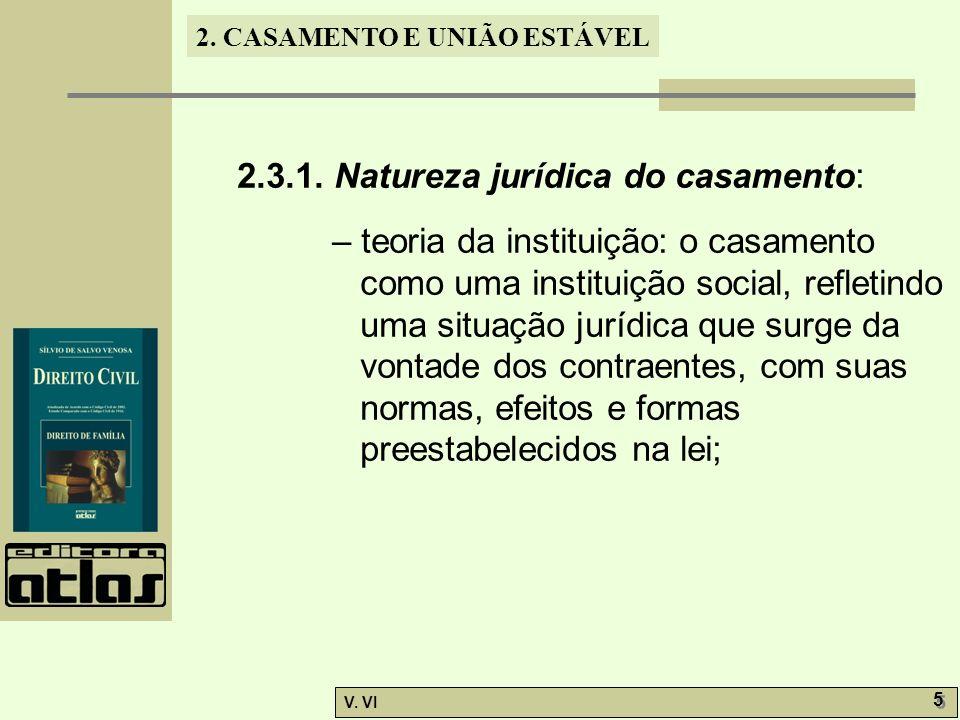 2. CASAMENTO E UNIÃO ESTÁVEL V. VI 5 5 2.3.1. Natureza jurídica do casamento: – teoria da instituição: o casamento como uma instituição social, reflet