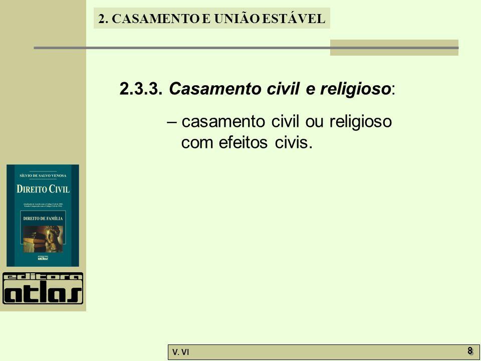 2. CASAMENTO E UNIÃO ESTÁVEL V. VI 8 8 2.3.3. Casamento civil e religioso: – casamento civil ou religioso com efeitos civis.