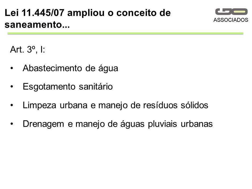 Art. 3º, I: Abastecimento de água Esgotamento sanitário Limpeza urbana e manejo de resíduos sólidos Drenagem e manejo de águas pluviais urbanas Lei 11