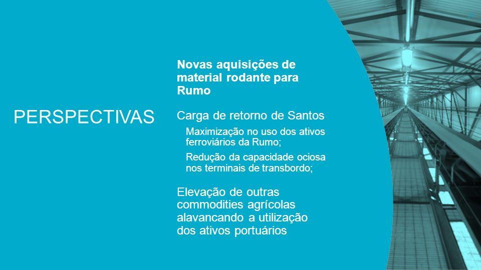 PERSPECTIVAS Novas aquisições de material rodante para Rumo Carga de retorno de Santos Maximização no uso dos ativos ferroviários da Rumo; Redução da