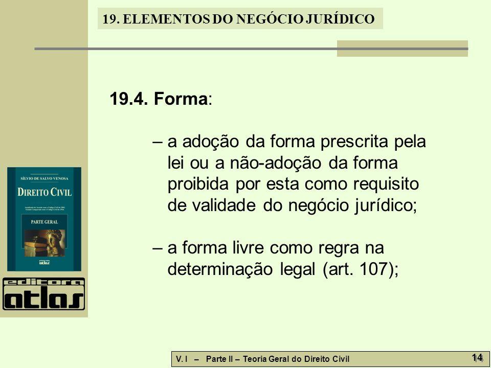 19.ELEMENTOS DO NEGÓCIO JURÍDICO V. I – Parte II – Teoria Geral do Direito Civil 14 19.4.
