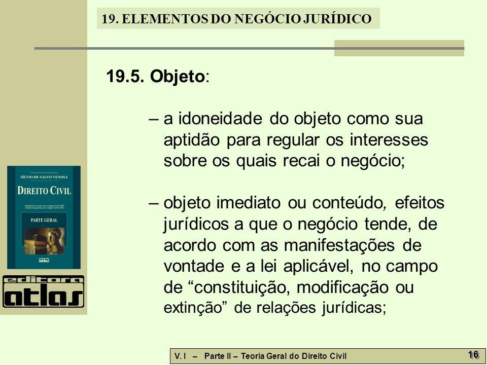 19.ELEMENTOS DO NEGÓCIO JURÍDICO V. I – Parte II – Teoria Geral do Direito Civil 16 19.5.