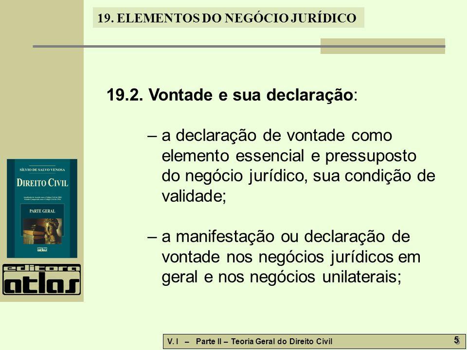 19.ELEMENTOS DO NEGÓCIO JURÍDICO V. I – Parte II – Teoria Geral do Direito Civil 5 5 19.2.