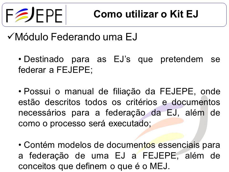 Módulo Federando uma EJ Destinado para as EJs que pretendem se federar a FEJEPE; Possui o manual de filiação da FEJEPE, onde estão descritos todos os